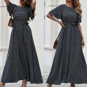 Bobo black dot belted maxi dress